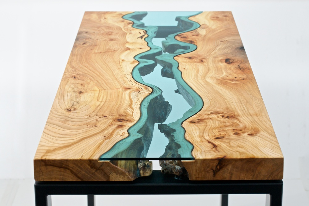 Table Topography Wood Furniture Embedded With Glass Rivers And Lakes